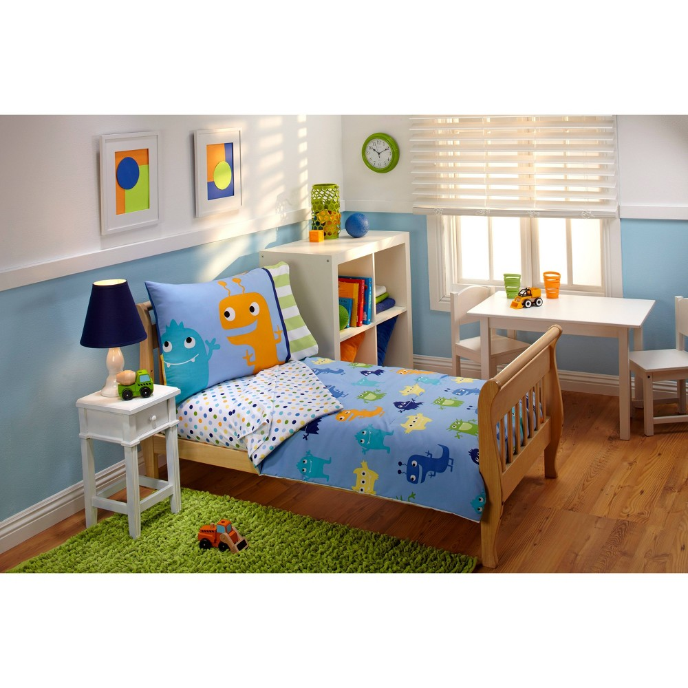 Image of NoJo 4pc Everything Kids Monster Toddler Bedding Set