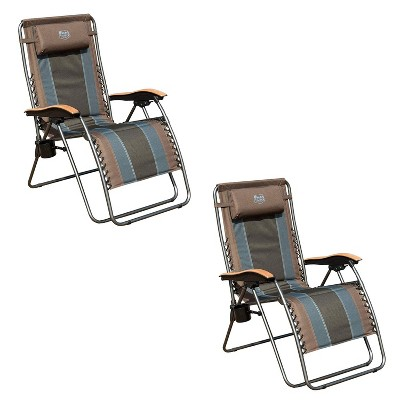 Timber Ridge Zero Gravity Oversized Outdoor Padded Stripe Folding Recliner Chair with Wood Armrests and Cup Holders (2 Pack)