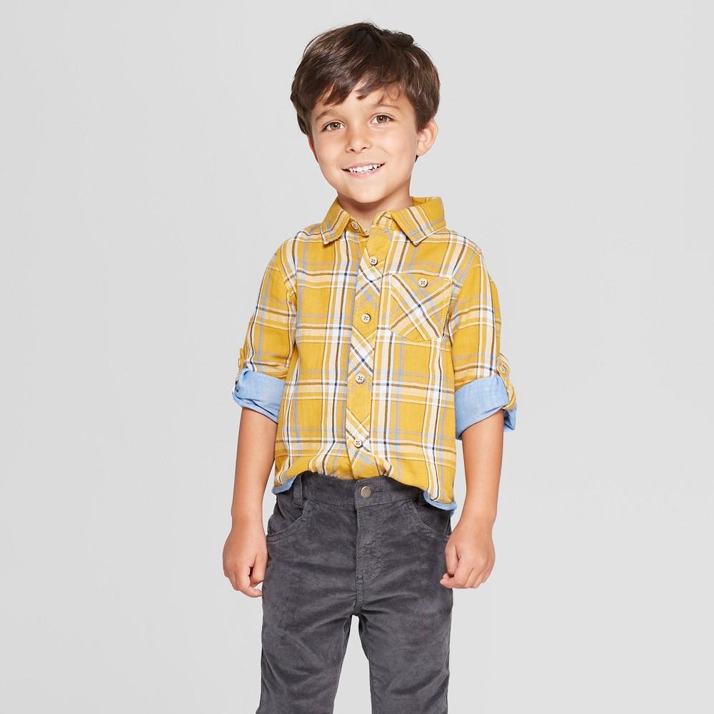 Genuine Kids from OshKosh Toddler Boys' Long Sleeve Double Weave Shirt - Yellow 3T