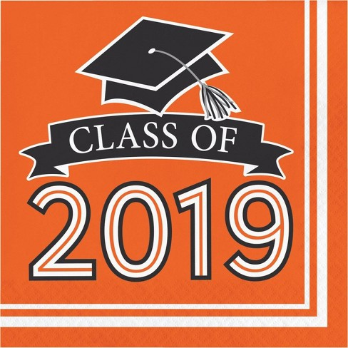 "108ct ""Class Of 2019"" Disposable Napkins Orange - image 1 of 1"