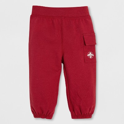 Burt's Bees Baby Boys' Organic Cotton French Terry Cargo Pants - Cranberry 3-6M