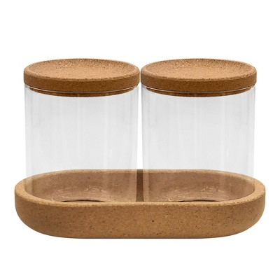Canister with Cork Bathroom Tray Clear - Allure Home Creations
