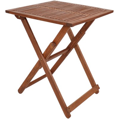 """Sunnydaze Outdoor Meranti Wood with Teak Oil Finish Folding Square Patio Accent Bistro Table - 23"""" - Brown"""
