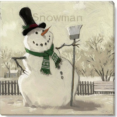 Sullivans Darren Gygi Sepia Snowman with Broom Canvas, Museum Quality Giclee Print, Gallery Wrapped, Handcrafted in USA