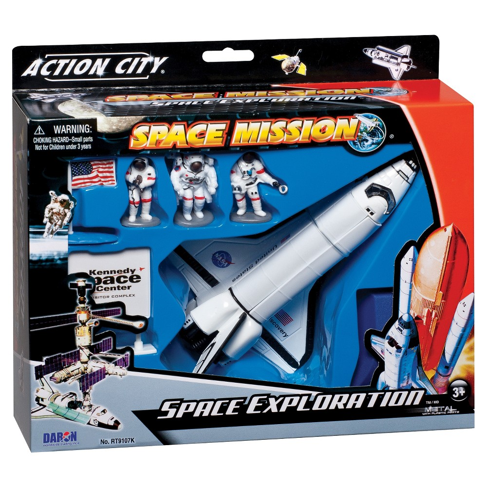 Daron NASA Die-Cast Space Shuttle with Accessories Give kids an antigravity experience with Daron Worldwide Trading Space Shuttle w/ Stand. A Space shuttle with operating doors, astronaut figures and a stand sets a great virtual space experience for children. It's a great set for science projects, fairs and for play time. Modern design and finish. Made from High quality plastic. Includes Astronauts, Space Shuttle, and Shuttle stand. For Ages 3 and up. Gender: unisex.