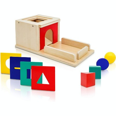 Wooden Montessori Shape Sorter and Object Permanence Learning Toy