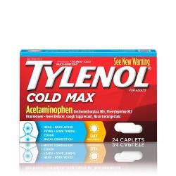 Tylenol Cold Max Daytime Caplets - Acetaminophen - 24ct