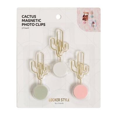 3pk Locker Cactus Photo Clip Magnets Boho Chic - U Brands