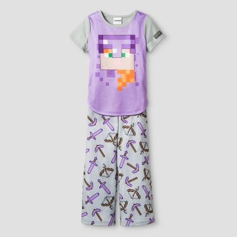 bdb462597d93 Girls  Minecraft Pajama Set - Gray   Target