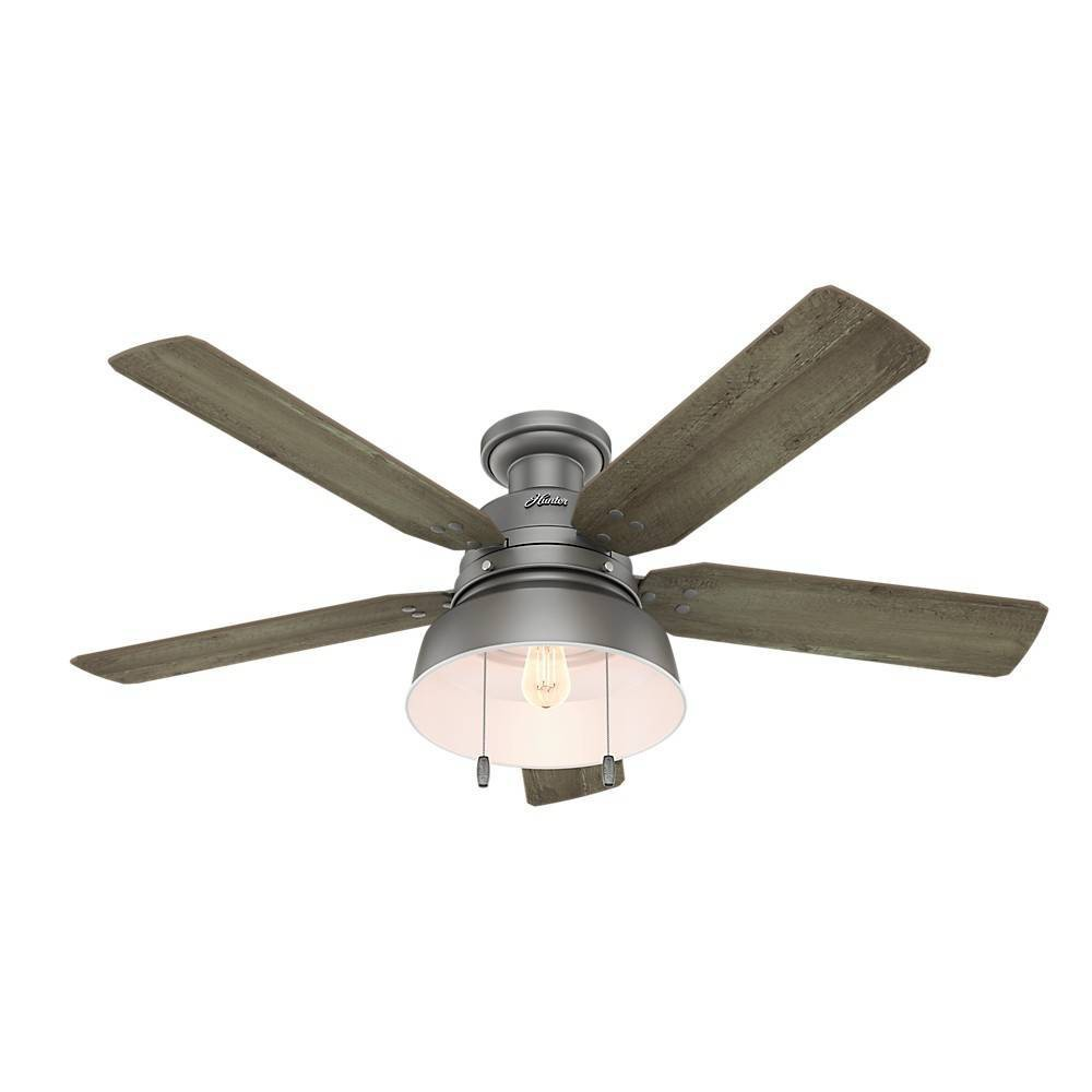 52 34 Led Mill Valley Damp Rated Low Profile Ceiling Fan Includes Energy Efficient Light Bulb Silver Hunter