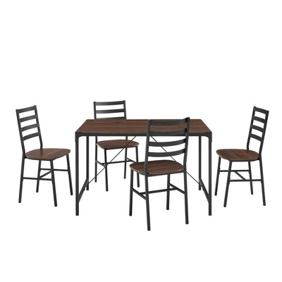 5pc Industrial Angle Iron Dining Set Dark Walnut - Saracina Home