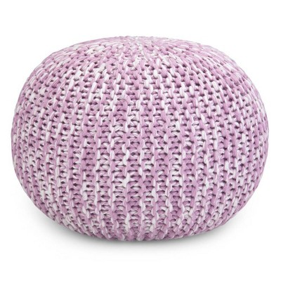 Sibley Hand Knit Round Pouf Lilac - Wyndenhal