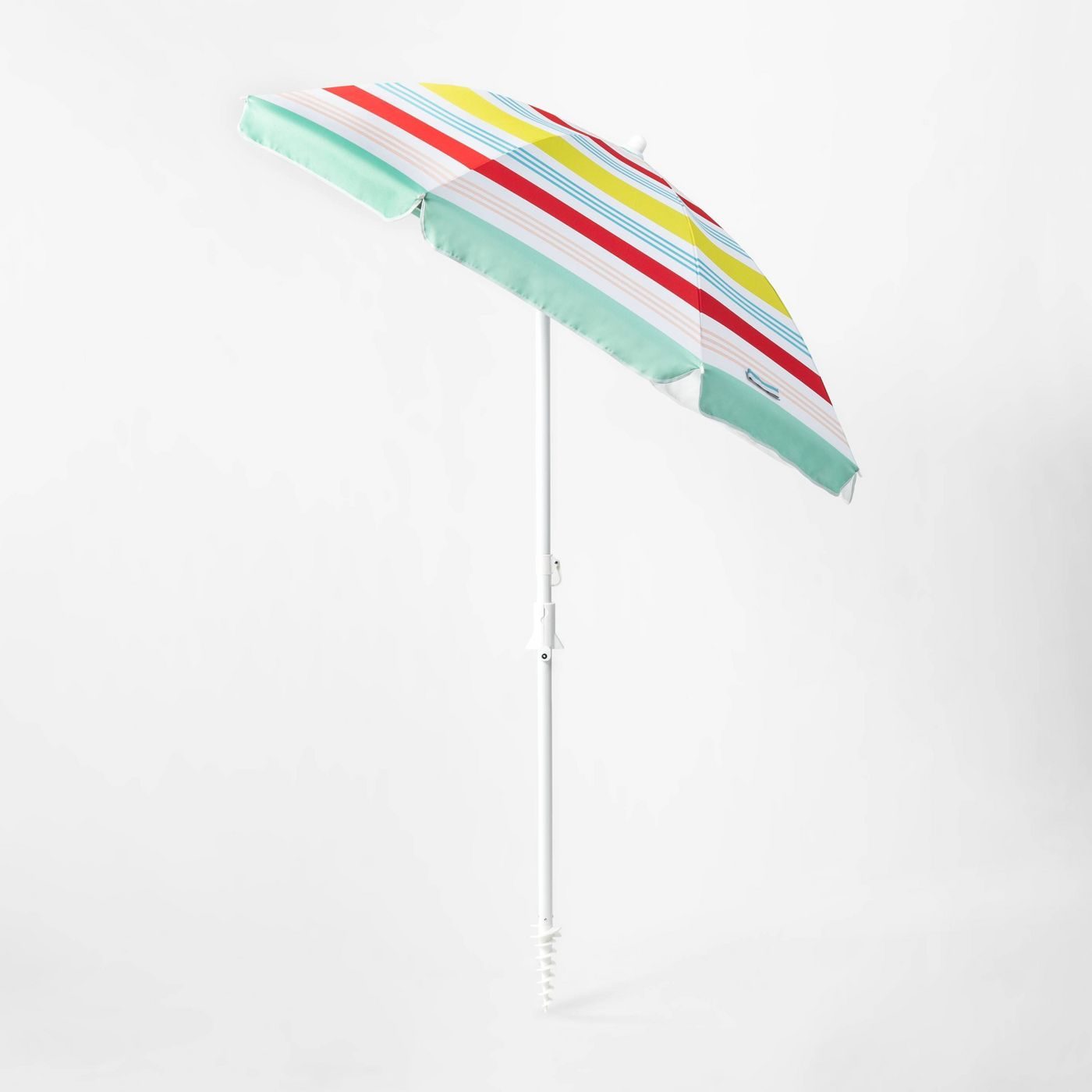 6' Variegated Stripe Beach Umbrella Red/Yellow/Blue - Sun Squad™ - image 2 of 5