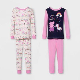 Toddler Girls Peppa Pig and Unicorn 4pc 100% Cotton Pajama Set - Pink 2T