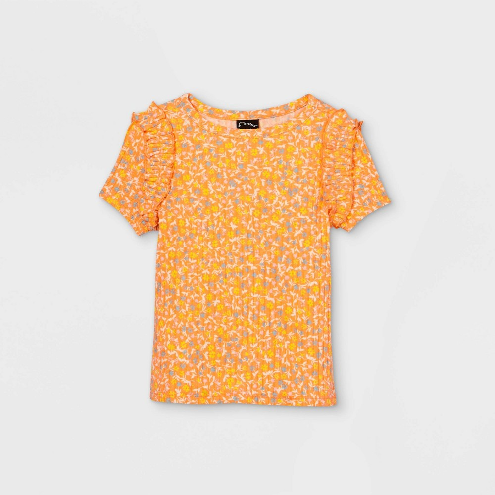 Toddler Girls 39 Rib Ruffle Short Sleeve T Shirt Art Class 8482 Peach 18m