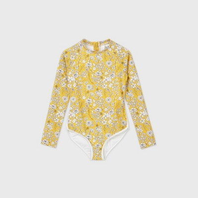 Girls' Long Sleeve Ditsy Floral Back-Zip One Piece Swimsuit - art class™ Gold