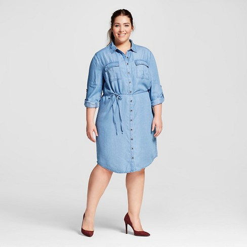 Women's Plus Size Tencel Shirtdress - Ava & Viv™ - Medium Wash 3X - image 1 of 3
