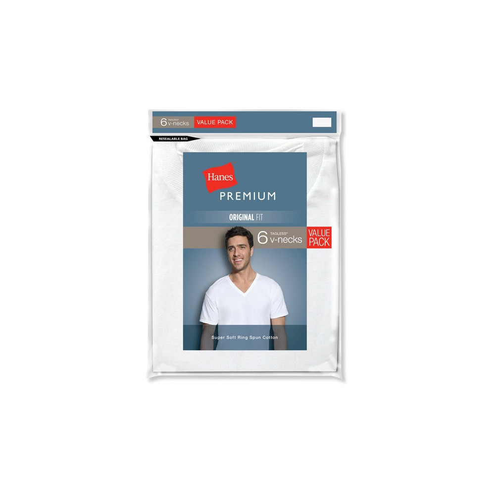 Hanes Men's PremiumV-Neck T-Shirt 6-Pack - White Xxl