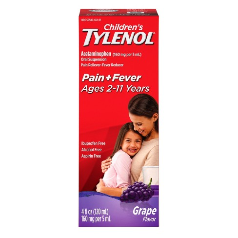 Children's Tylenol Pain + Fever Relief Liquid - Acetaminophen - Grape - 4 fl oz - image 1 of 4