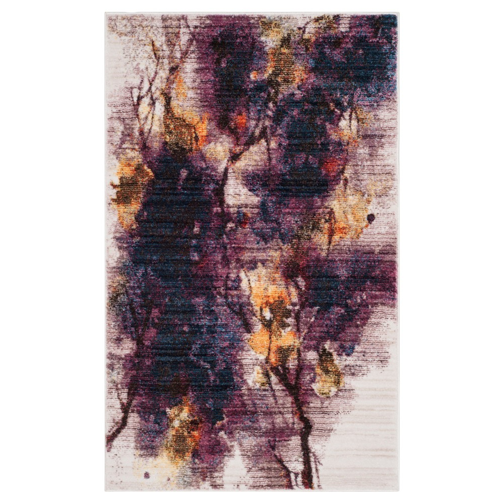 Ivory/Lavender Branch Loomed Accent Rug 4'X6' - Safavieh, Purple White