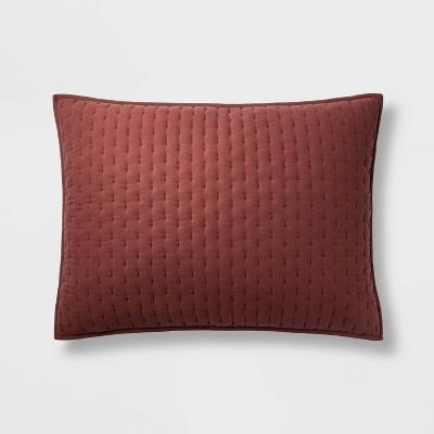 Standard Cashmere Blend Quilted Pillow Sham Dark Clay - Casaluna™