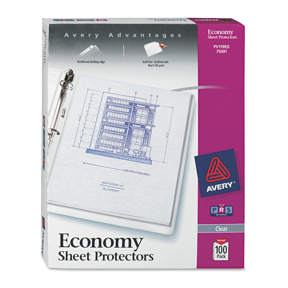 Avery Top-Load Poly Three-Hole Sheet Protectors, Economy Gauge, Letter - 100 Per Box, Clear