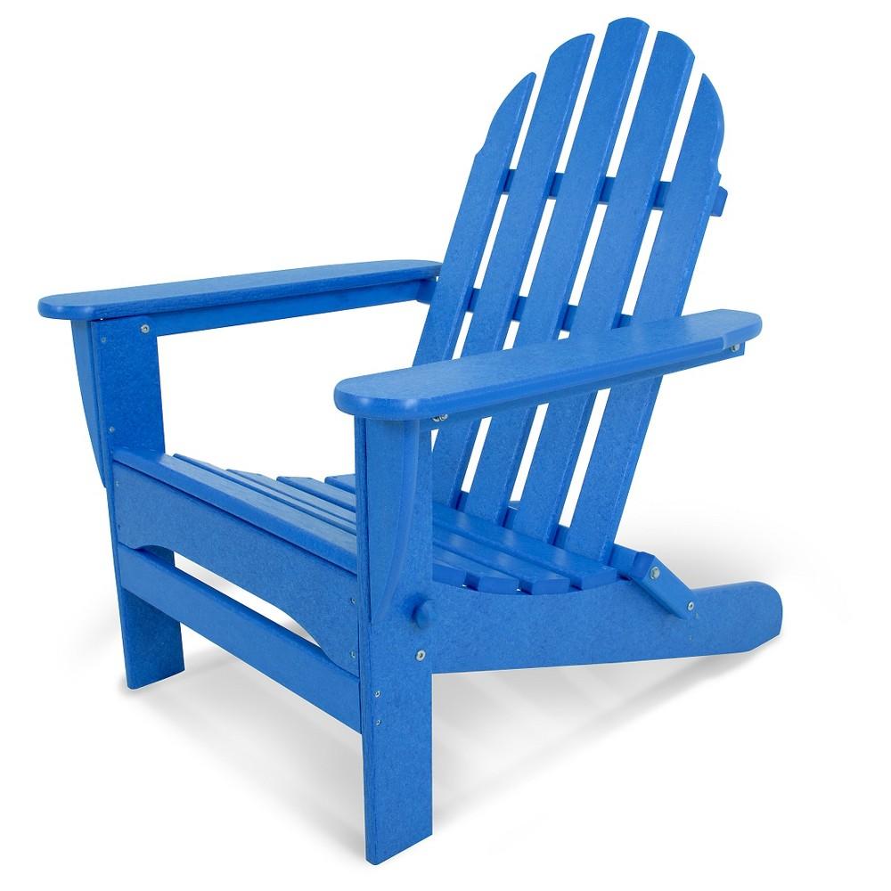 Polywood Classic Folding Patio Adirondack Chair - Pacific Blue, Pac Blue