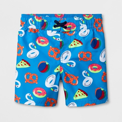 Toddler Boys' Pizza and Pretzel Swim Trunks - Cat & Jack™ Blue - image 1 of 1