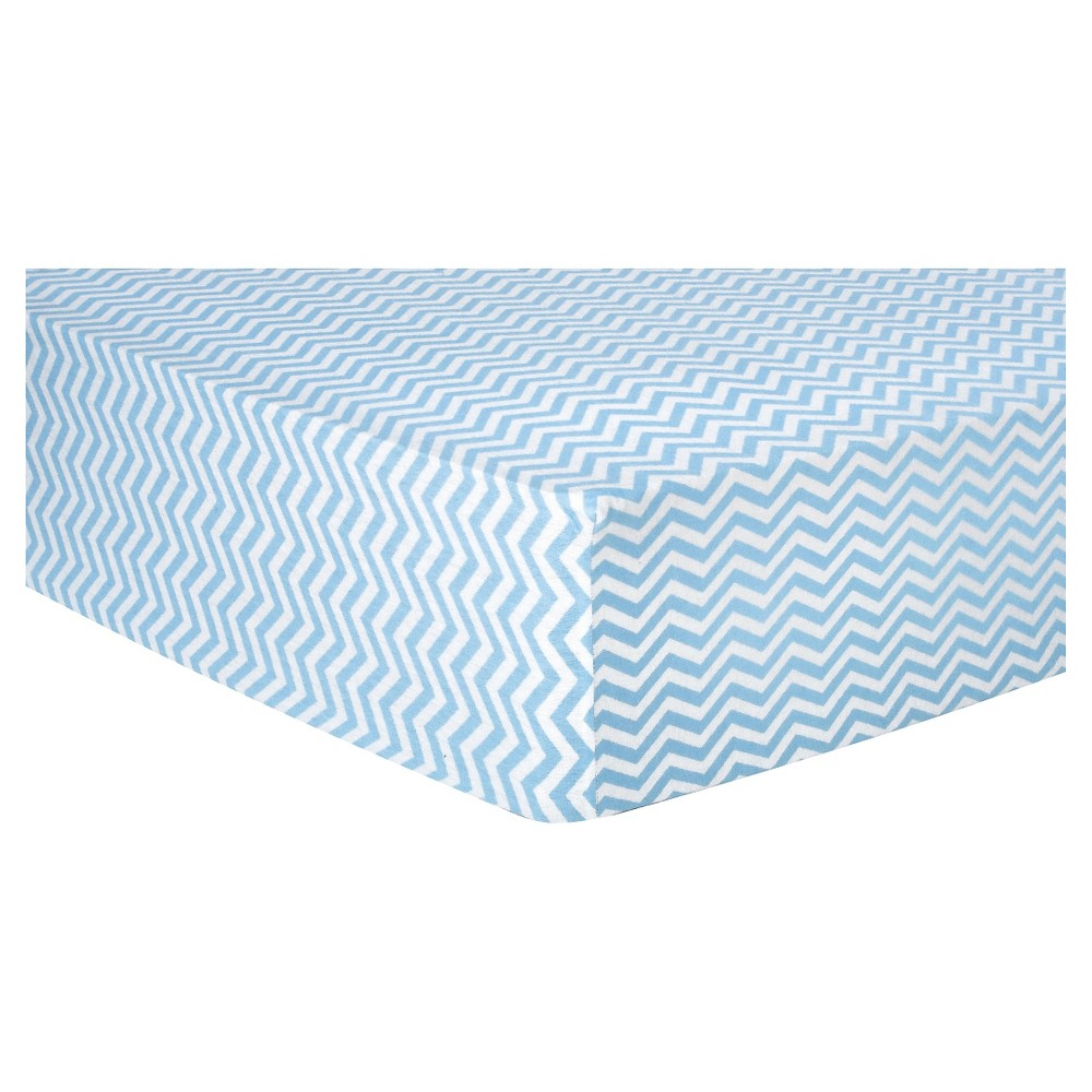 Trend Lab Deluxe Chevron Flannel Fitted Crib Sheet - Blue