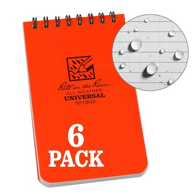 """6pk Spiral Notebook 1 Subject Special Ruled 3"""" x 5"""" Orange - Rite in the Rain"""
