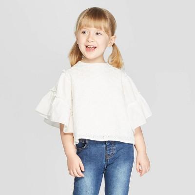 Toddler Girls' 3/4 Sleeve Eyelet Blouse   Art Class™ White by Art Class