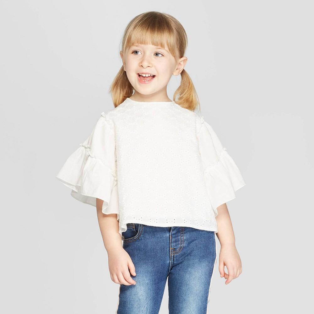 Toddler Girls' 3/4 Sleeve Eyelet Blouse - art class White 2T