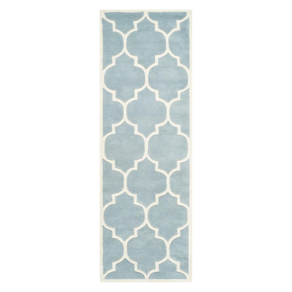 2'3X21' Quatrefoil Design Tufted Runner Blue/Ivory - Safavieh