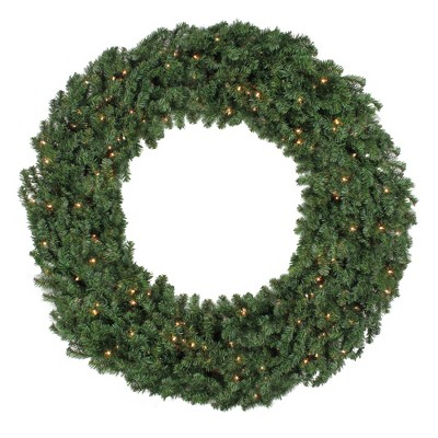 """Northlight 60"""" Prelit Commercial Canadian Pine Artificial Christmas Wreath - Clear Lights"""
