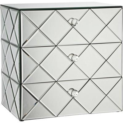 Studio 55D Newry 3-Drawer Silver Mirrored Jewelry Box