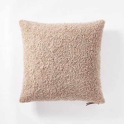 Square Boucle Throw Pillow with Exposed Zipper Taupe - Threshold™ designed by Studio McGee