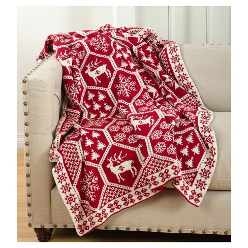 red sevan christmas design knitted throw blankets 50 x60 saro