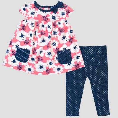 Gerber® Baby Girls' 2pc Flowers Tunic and Leggings Set - Pink/Blue 0-3M