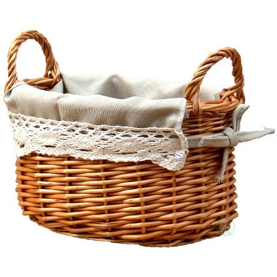 Vintiquewise Small Basket with Lace Trim