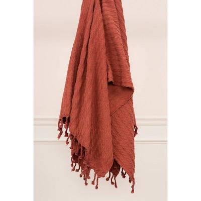 """50""""x60"""" Textured Striped Throw Blanket Rust - Rizzy Home"""