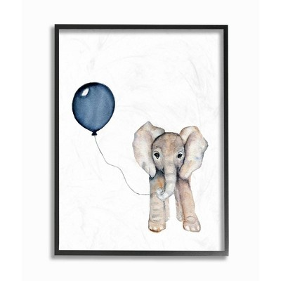 "11""x1.5""x14"" Baby Elephant with Blue Balloon Framed Giclee Texturized Art - Stupell Industries"