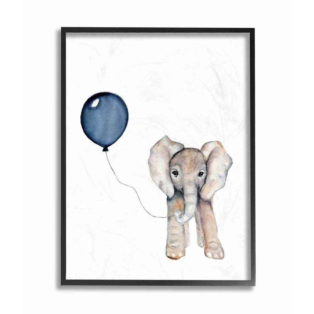 "Image of ""11""""x1.5""""x14"""" Baby Elephant with Blue Balloon Framed Giclee Texturized Art - Stupell Industries"""