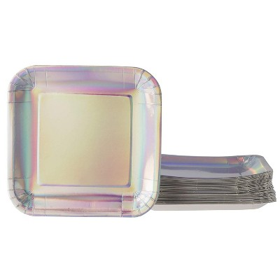 """Juvale 48-Pack Square Disposable Paper Plates 7"""" Metallic Silver Holographic Foil, Birthday Party Supplies"""