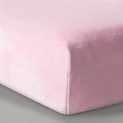 Plush Fitted Crib Sheet Solid - Cloud Island™ Pink