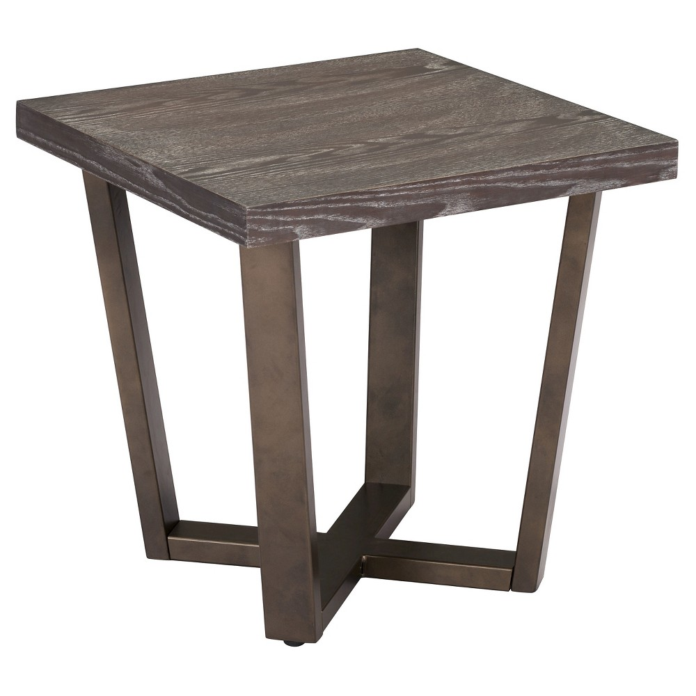 Modern Industrial 18 End Side Table - Gray Oak/Antique Brass - ZM Home, Gray Oak And Antique Brass