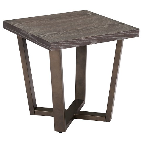"Modern Industrial 18"" End Side Table - Gray Oak/Antique Brass - ZM Home - image 1 of 1"