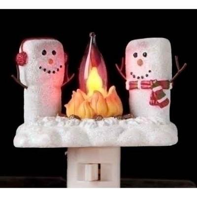 "Roman 4.5"" Marshmallow Snowmen at a Campfire Festive Christmas Night Light - White"