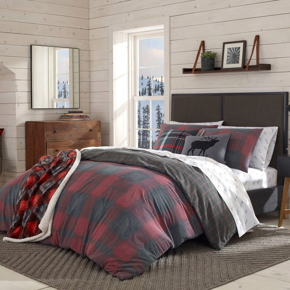 Image of Eddie Bauer Full/Queen Cattle River Plaid Duvet Cover Set Red