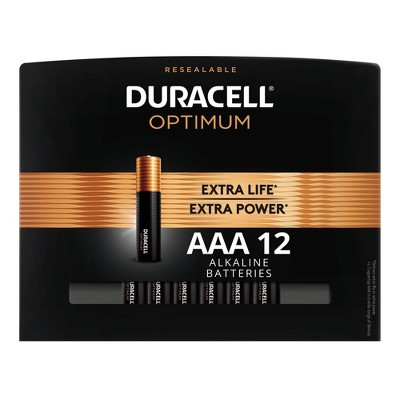 Duracell Optimum AAA Batteries - 12 Pack Alkaline Battery with Resealable Tray