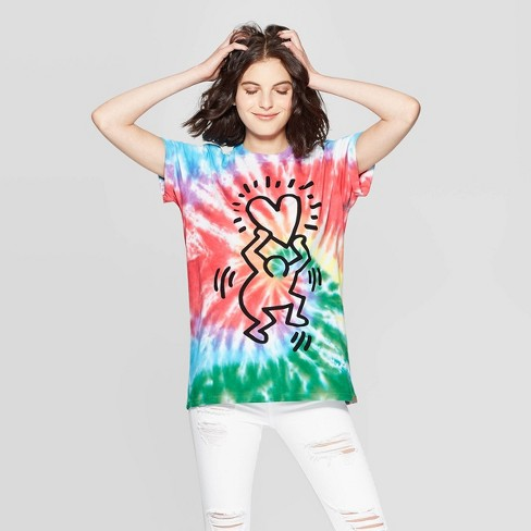 Women's Keith Haring Elbow Sleeve Heart Graphic T-Shirt - Mighty Fine (Juniors') - Tye Dye - image 1 of 2